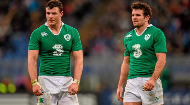 Robbie Henshaw, left, and Jared Payne