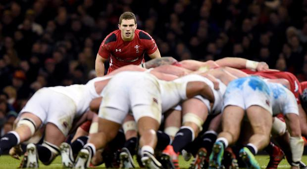 Wales' George North waits for a scrum during their Six Nations Rugby Union match at the Millennium stadium in Cardiff, Wales