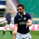 Greig Laidlaw passes the ball during the Scotland captain's run