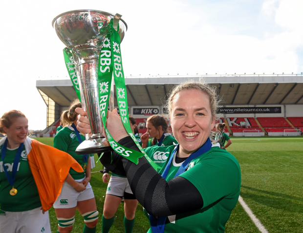 Ireland captain Niamh Briggs celebrates with the Women's Six Nations Rugby Championship trophy