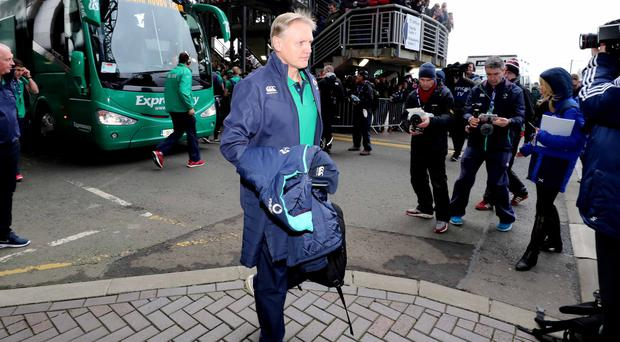 Joe Schmidt arrives at Murrayfield last Saturday on the bus that has been at the centre of much debate this week. Photo: Billy Strickland/INPHO