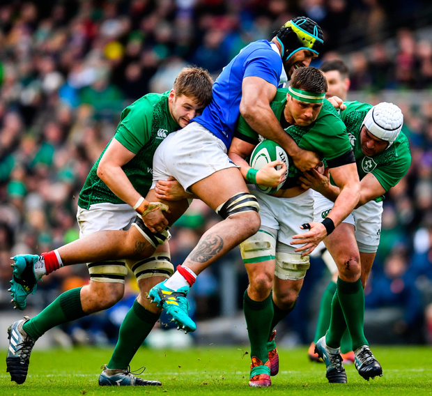 Stander delivers: CJ Stander supported by team-mates Iain Henderson (left) and Rory Best is tackled by France's Gregory Alldritt. Photo: Ramsey Cardy/Sportsfile