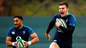 Jacob Stockdale, right, and Bundee Aki are back in the Ireland starting line-up for tomorrow's clash against England. Photo: Sportsfile