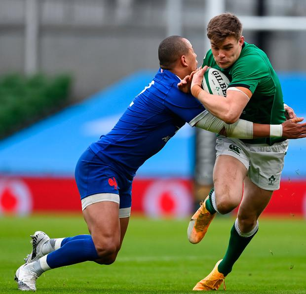 Blues connection: Leinster's Garry Ringrose is tackled by Gaël Fickou during the Six Nations match between Ireland and France at the Aviva Stadium in Dublin. Photo: Brendan Moran/Sportsfile