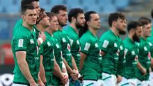 The Ireland team, led by captain Jonathan Sexton, left, line up for the anthems prior to the Guinness Six Nations match against Italy on Saturday. Photo: Roberto Bregani/Sportsfile