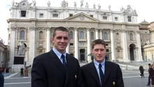 Alan Quinlan, left, and Ronan O'Gara during the Ireland rugby squad's visit to The Vatican in January 2001. Photo: Billy Stickland/Inpho