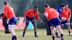 England's Maro Itoje during training this week for today's clash against Ireland. Photo: Adam Davy/Reuters