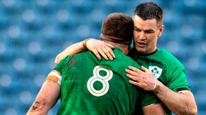 Key men: Jonathan Sexton and CJ Stander of Ireland celebrate following the recent Six Nations victory over Scotland. Photo: Paul Devlin/Sportsfile