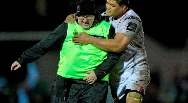 Nick Williams celebrates with Ulster Rugby official photograher John Dickson after their victory over Connacht on Saturday at the Sportsground Photo:Sportsfile