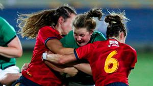 Enya Breen of Ireland in action during the Rugby World Cup 2022 Europe Qualifying Tournament match between Spain and Ireland at Stadio Sergio Lanfranchi in Parma. Photo: Sportsfile