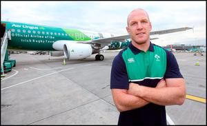 Paul O'Connell prepares to board the flight to Wales