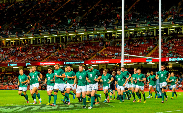 ec3c6bcc47 The Ireland team ahead of the Rugby World Cup Warm-Up Match against Wales at