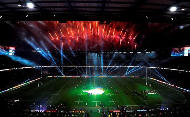 Fireworks at Twickenham after New Zealand's Rugby World Cup victory