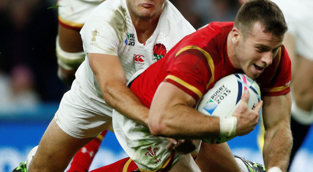 Wales' Gareth Davies scores the crucial try against England during their World Cup clash at Twickenham