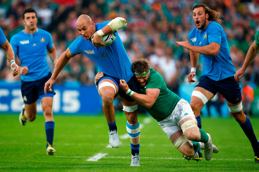 Sergio Parisse during Ireland's narrow World Cup win over Italy.