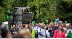 Nice try: An open-top bus heads from the Aviva to World Rugby's HQ on Pemrboke Street, Dublin as Ireland submits its formal bid in June. Photo: Sam Barnes/Sportsfile