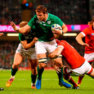 Ireland lock Iain Henderson is tackled by Kyle Gilmour of Canada during their World Cup Pool D clash earlier this year.