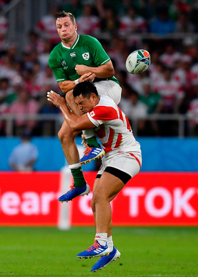 Jack Carty is tackled by Japan's Ryoto Nakamura during Saturday's Pool A clash at the Shizuoka Stadium in Fukuroi. Photo: Brendan Moran/Sportsfile