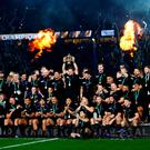 Richie McCaw of New Zealand lifts the Webb Ellis Cup following victory in the 2015 Rugby World Cup Final match between New Zealand and Australia at Twickenham Stadium