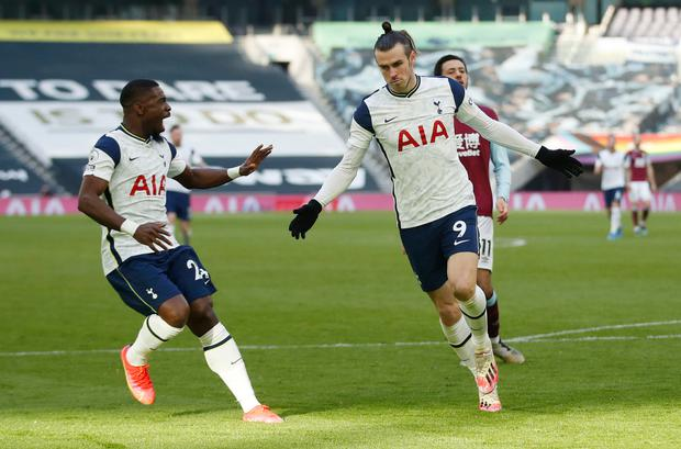 Tottenham Hotspur's Gareth Bale celebrates scoring their fourth goal against Burnley last Sunday
