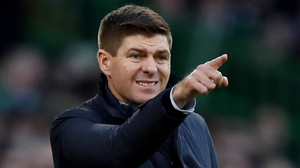 Steven Gerrard makes his point during Rangers victory against Celtic which again served to underline his potential in management. Photo: Reuters