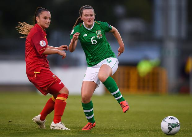 Tyler Toland in action for the Republic of Ireland against Montenegro during the UEFA Women's 2021 European Championships Qualifiers in 2019. Photo by: Stephen McCarthy/Sportsfile