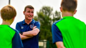 Stephen Kenny speaking to kids taking part in the INTERSPORT Elverys Summer Soccer Schools at Templeogue United FC in Dublin. Photo by Eóin Noonan/Sportsfile