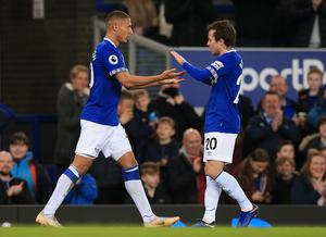 Bernard (right) believes team-mate Richarlison still has plenty of improvement to make (Peter Byrne/PA)