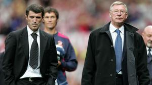Roy Keane, left, hit back at Sir Alex Ferguson, right, in his new book