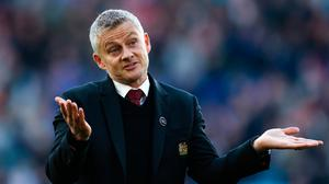 Ole Gunnar Solskjaer reacts during the Premier League match between Leicester City and Manchester United at The King Power Stadium. (Photo by Alex Pantling/Getty Images)