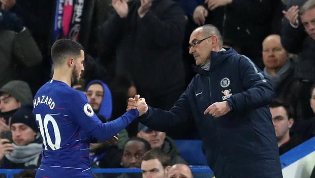 Maurizio Sarri believes Eden Hazard playing as 'false nine' gives Chelsea a better defensive balance (Adam Davy/PA)