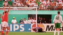 Packie Bonner lies on the pitch at the Citrus Bowl, Orlando, after a mistake led to Holland's second goal by Wim Jonk during the 1994 World Cup last 16 game.