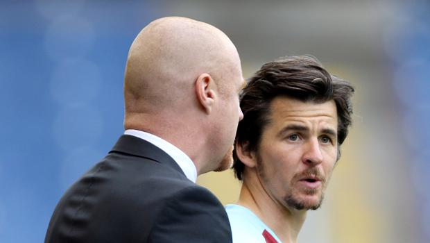 Sean Dyche, left, has offered support for Joey Barton ahead of what could be his last game for Burnley