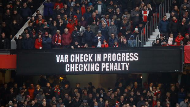 An electronic scoreboard at Old Trafford showing VAR in in use at the Manchester United-Reading FA Cup tie (Martin Rickett/PA)