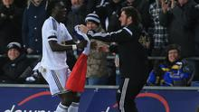 Bafetimbi Gomis parades a French flag as a tribute to the victims of the Paris attacks