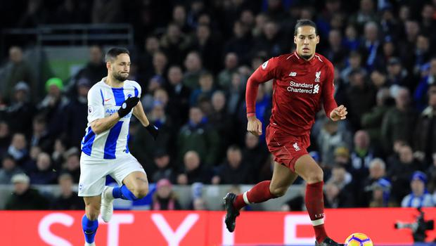 Liverpool's Virgil van Dijk in action during the Premier League match at the AMEX Stadium, Brighton