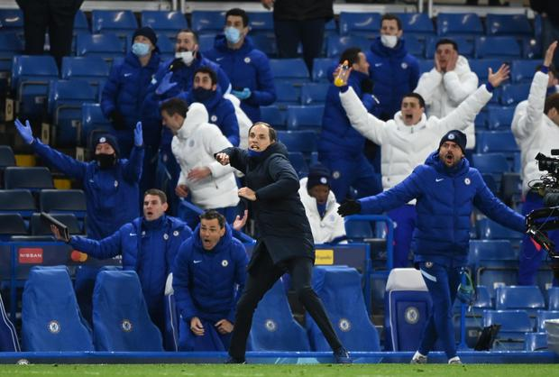 Chelsea manager Thomas Tuchel and the bench react after victory over Real Madrid at Stamford Bridge. Photo: Reuters