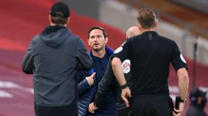 Chelsea manager Frank Lampard clashed with Liverpool counterpart Jurgen Klopp at Anfield on Wednesday (Laurence Griffiths/PA)