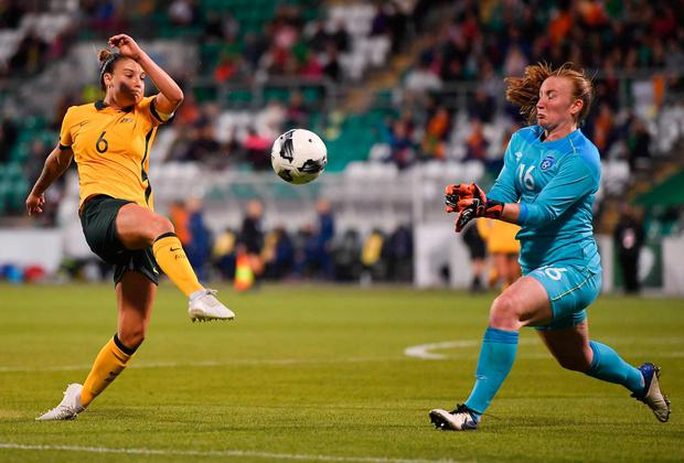 Chloe Logarzo of Australia in action against Courtney Brosnan of Republic of Ireland during the women's international friendly match between Republic of Ireland and Australia at Tallaght Stadium in Dublin. Photo: Seb Daly/Sportsfile