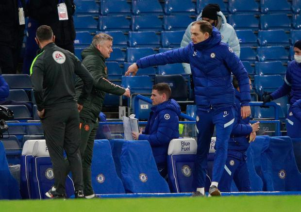 Chelsea coach Thomas Tuchel and Manchester United coach Ole Gunnar Solskjaer after Sunday's Premier League game