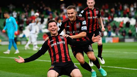 Bohemians' Ali Coote celebrates after scoring his side's first goal with team-mate Liam Burt during the Europa Conference League third qualifying round first leg win over Greek side PAOK at the Aviva Stadium, Dublin. Photo: Harry Murphy/Sportsfile