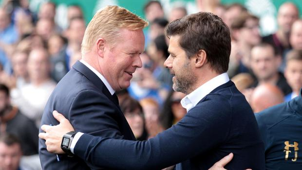 Everton manager Ronald Koeman, left, believes Tottenham has been successful under Mauricio Pochettino