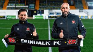 New challenge: Dundalk interim head coach Filippo Giovagnoli (right) and assistant coach Giuseppe Rossi at their unveiling in August. SPORTSFILE