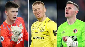 Could Jordan Pickford (centre) come under pressure from Nick Pope (left) or Dean Henderson? (Nick Potts/Martin Rickett/Mike Egerton/PA)