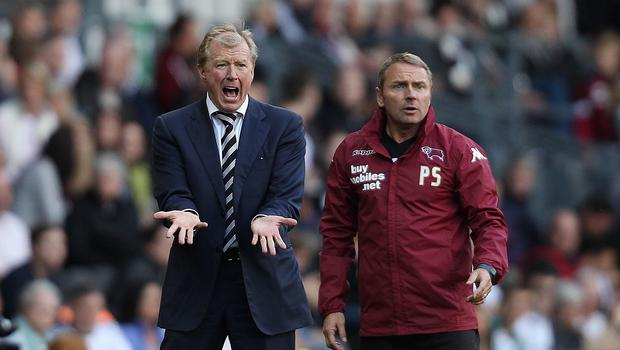 Paul Simpson, right, looks set for a reunion with Steve McClaren at Newcastle