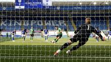 Kasper Schmeichel saves a penalty from Neal Maupay (Andrew Boyers/NMC Pool/PA)