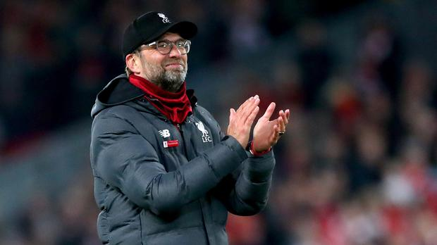 Liverpool manager Jurgen Klopp applauds the fans at full-time (Nick Potts/PA)