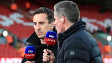 Gary Neville, left, and fellow Sky Sports football pundit Jamie Carragher (Peter Byrne/PA)