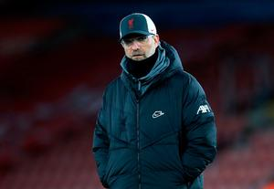 Liverpool manager Jurgen Klopp is under pressure to get a positive result against RB Leipzig on Tuesday night. Photo: Adam Davy/PA Wire