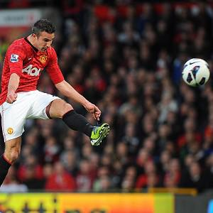 Robin Van Persie, right, fires home a sensational second in Manchester United's victory